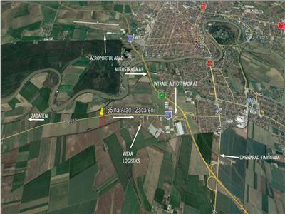 Teren cu potential industrial, 4,35 in Arad Zadareni