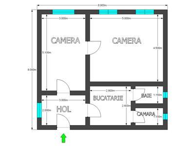 Casa cu 2 camere